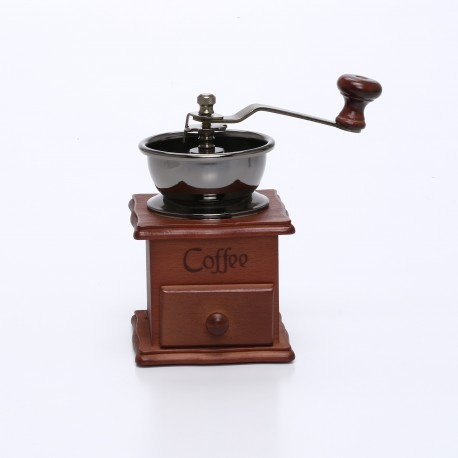 Conical Burr Wooden Coffee Mill Manual Hand Grinder
